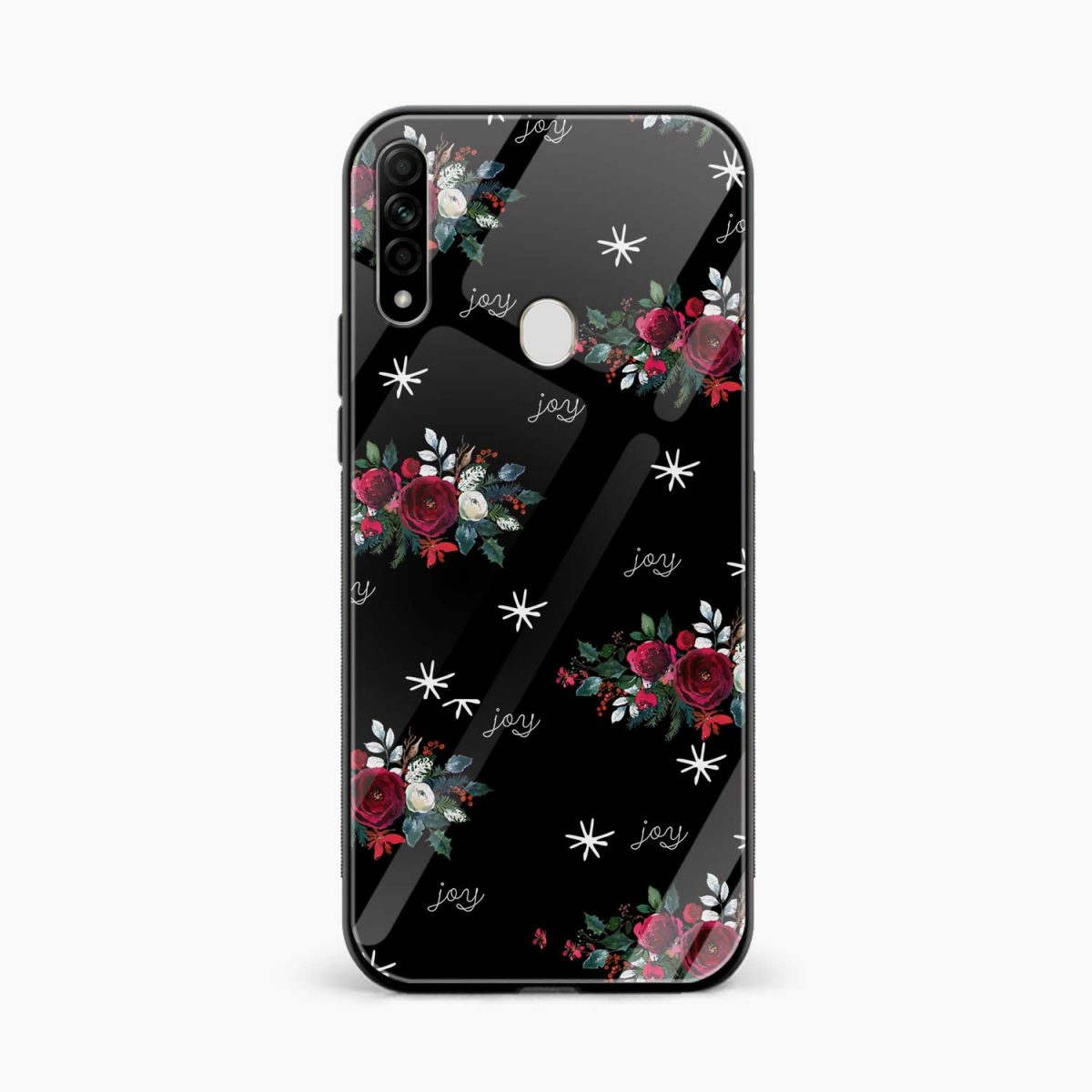 joy floral black colored front view oppo a31 back cover