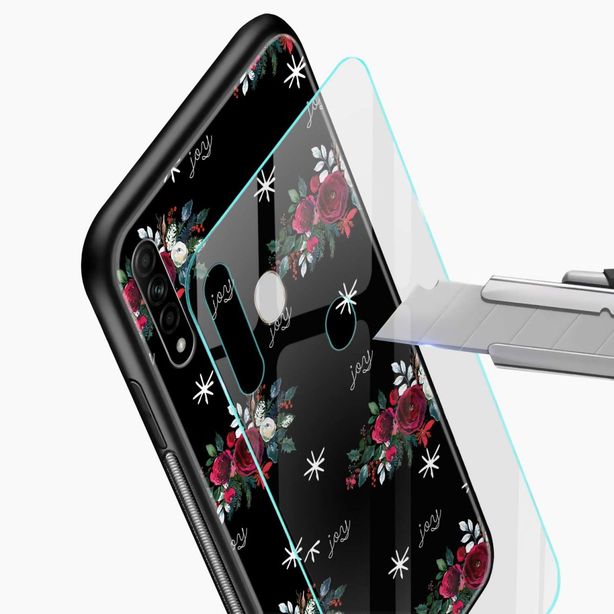 joy floral black colored glass view oppo a31 back cover