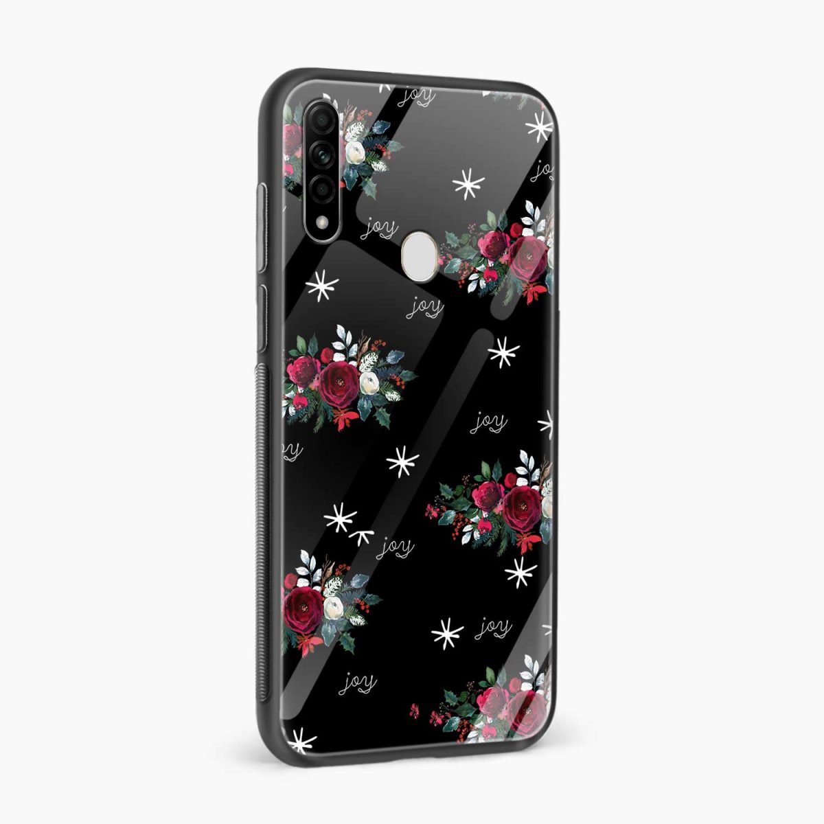joy floral black colored side view oppo a31 back cover