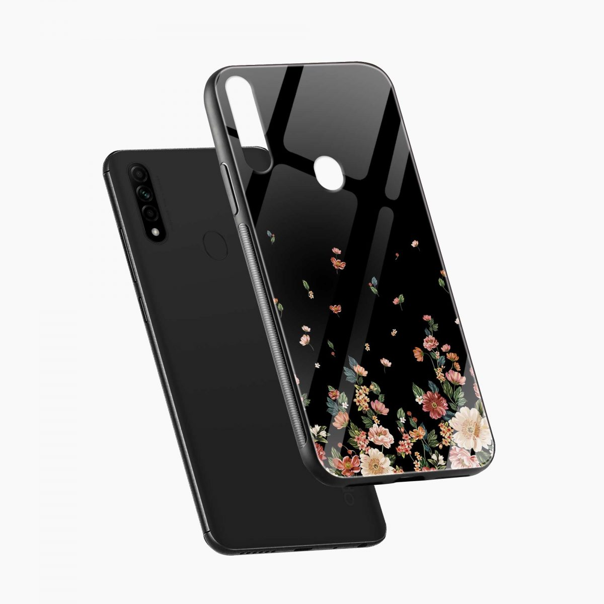 graceful floral black colored diagonal view oppo a31 back cover
