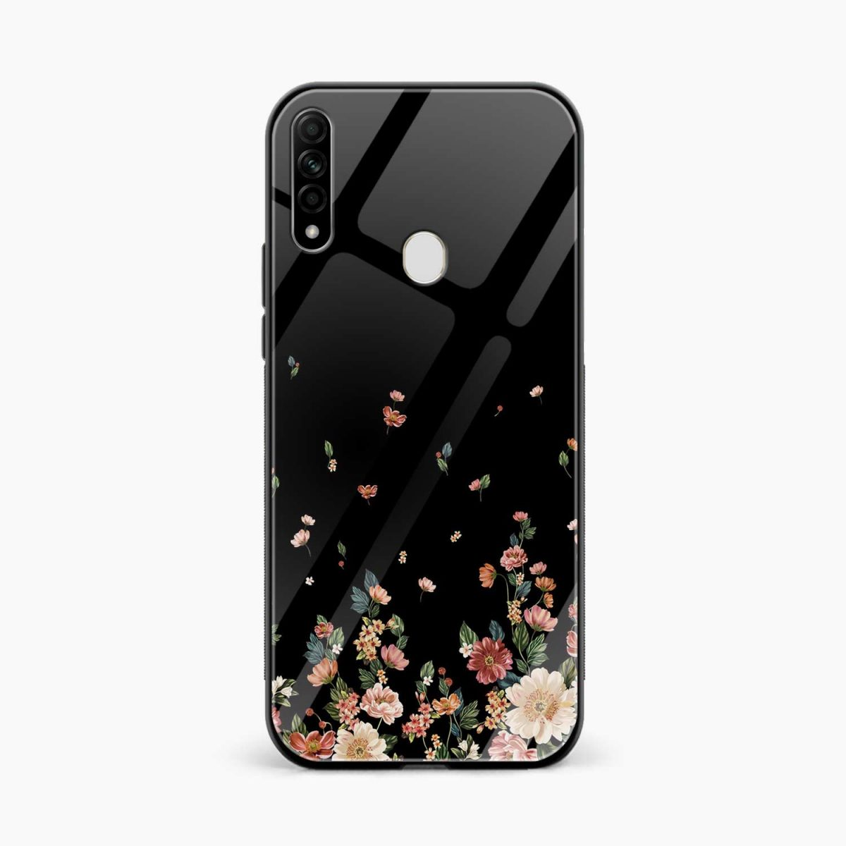 graceful floral black colored front view oppo a31 back cover