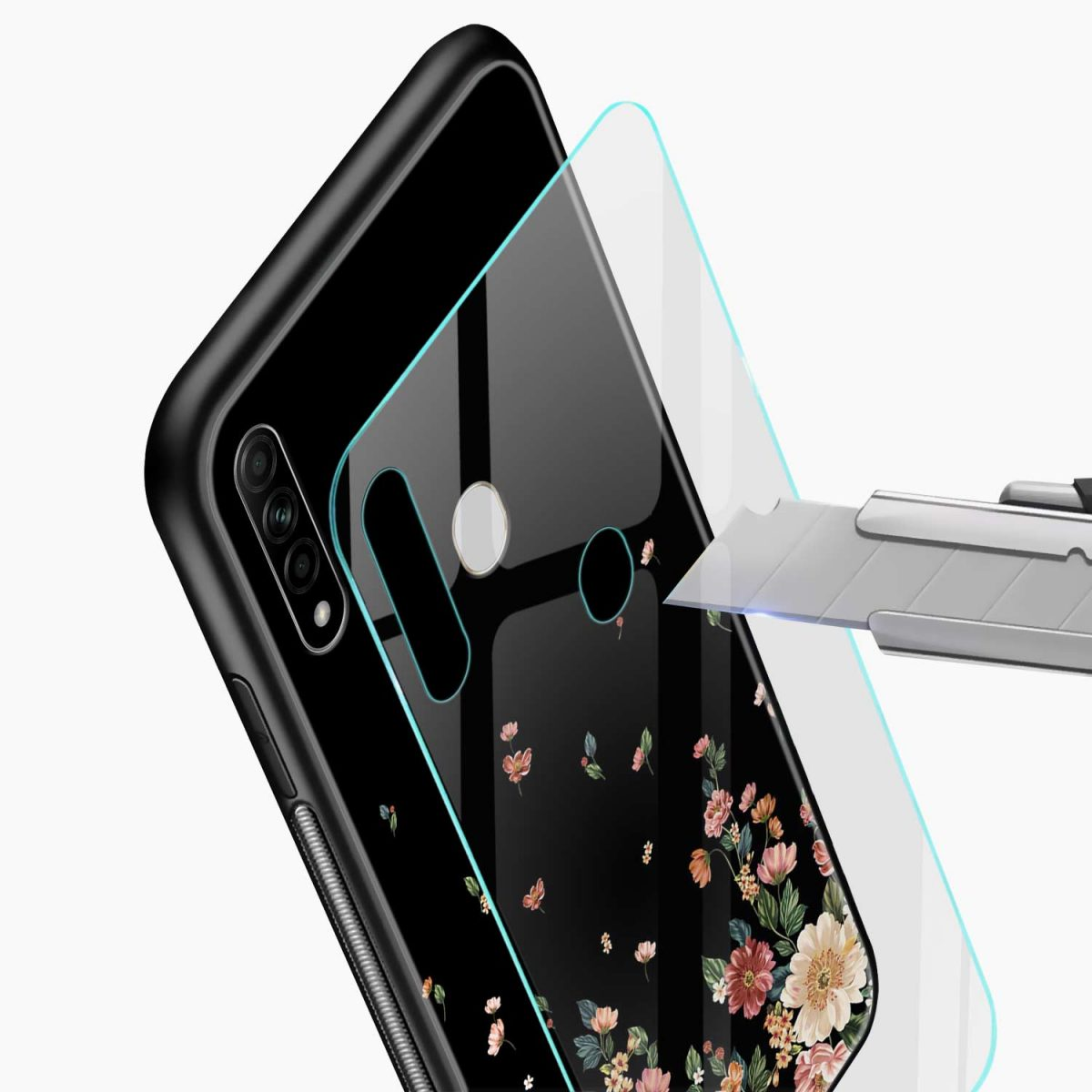graceful floral black colored glass view oppo a31 back cover