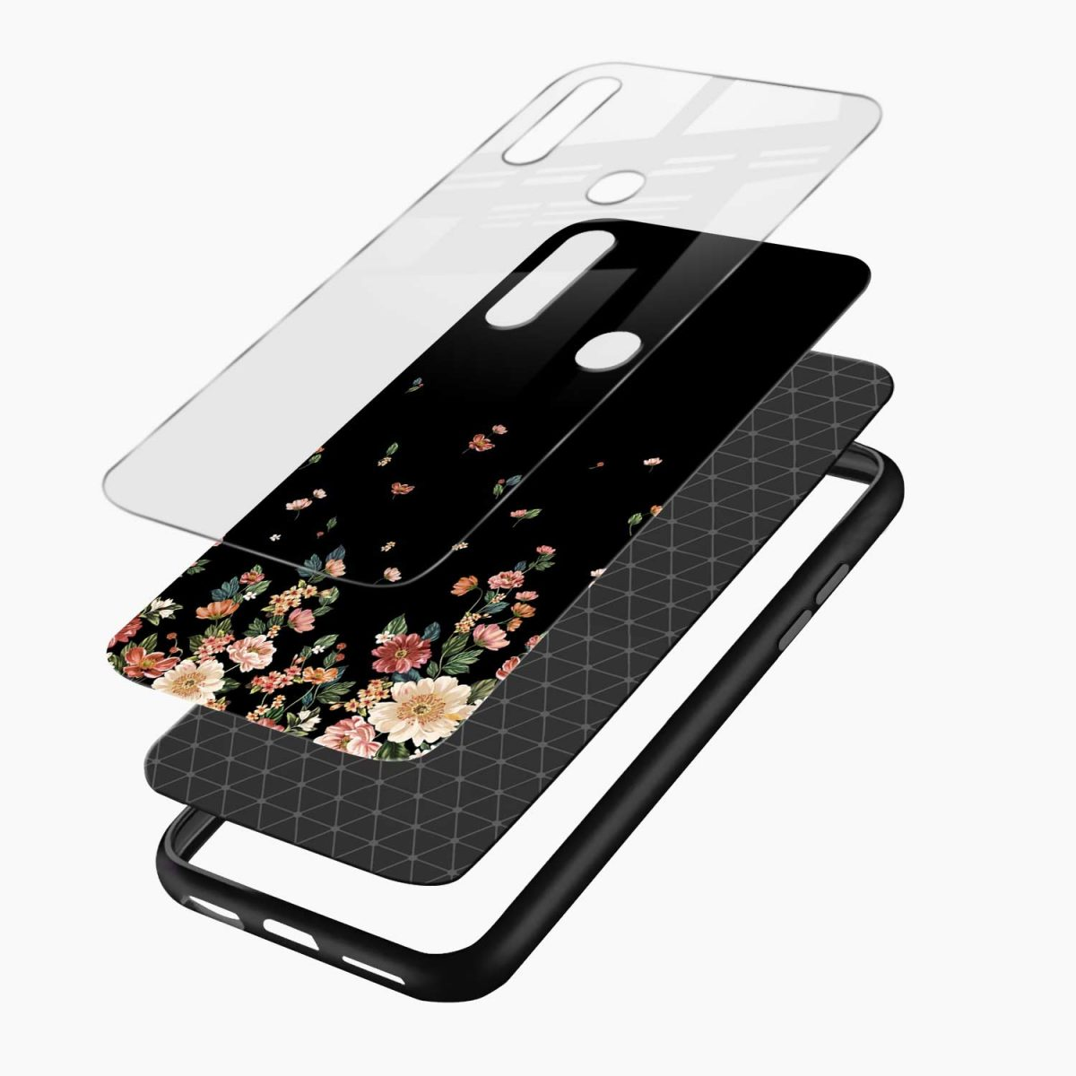 graceful floral black colored layers view oppo a31 back cover