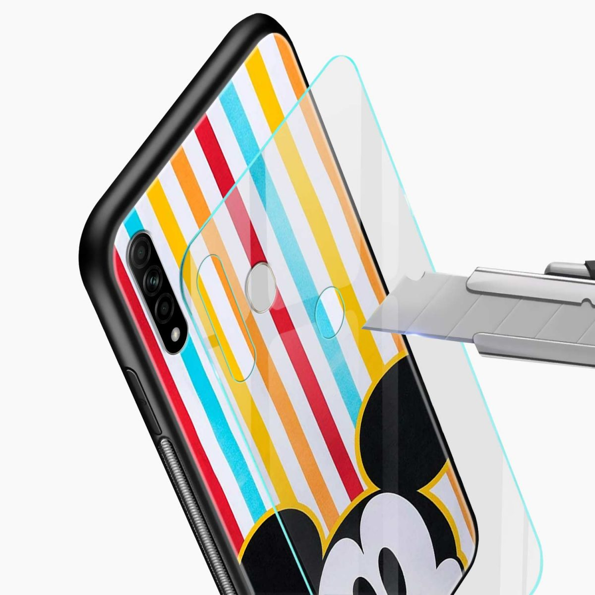 rigid spy mickey mouse glass view oppo a31 back cover