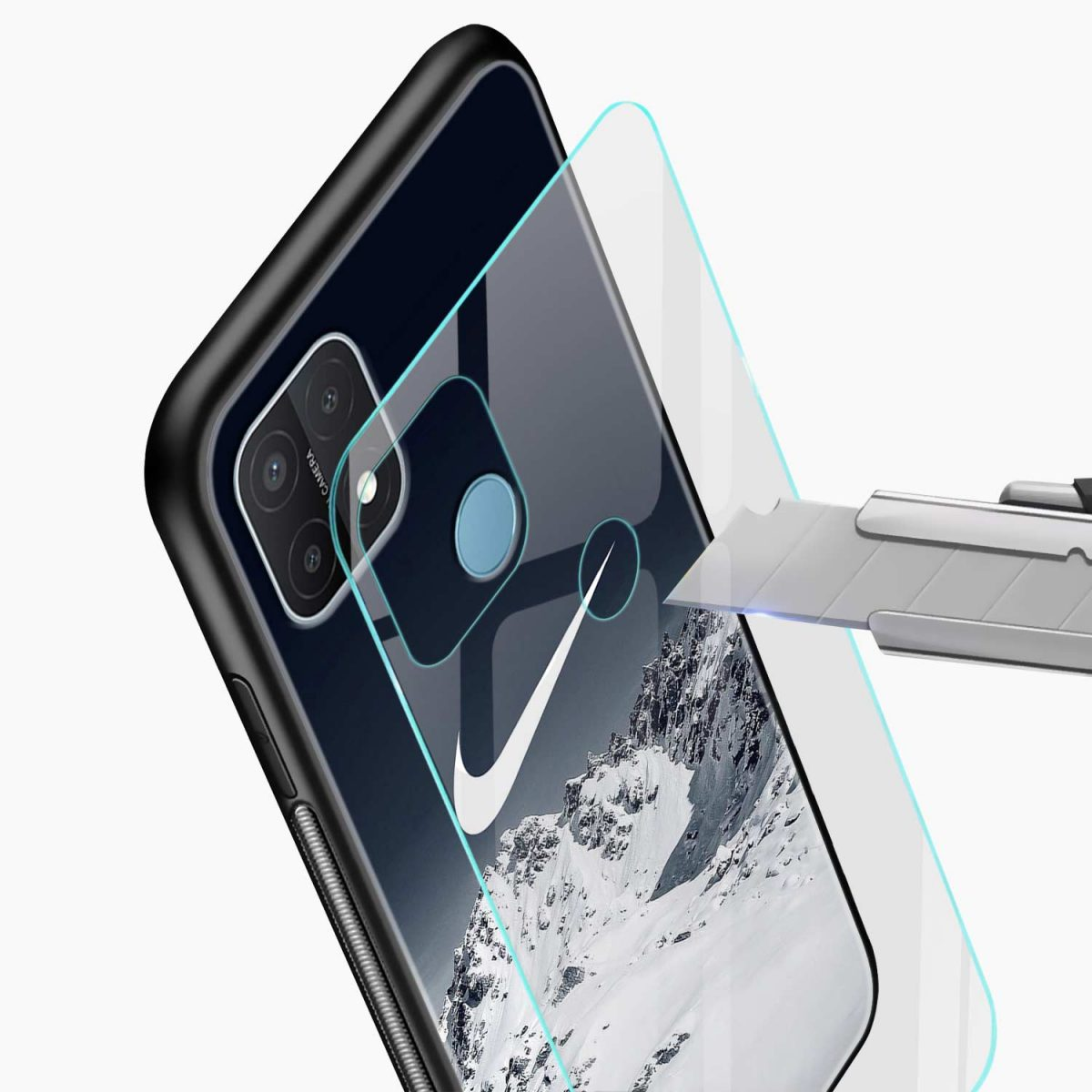 nike mountains glass view oppo a15 back cover