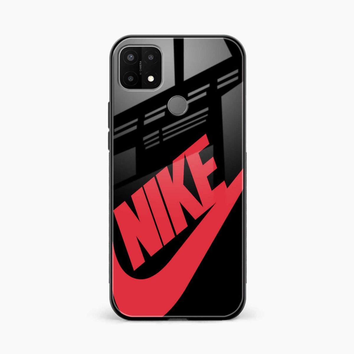 big red nike front view oppo a15 back cover