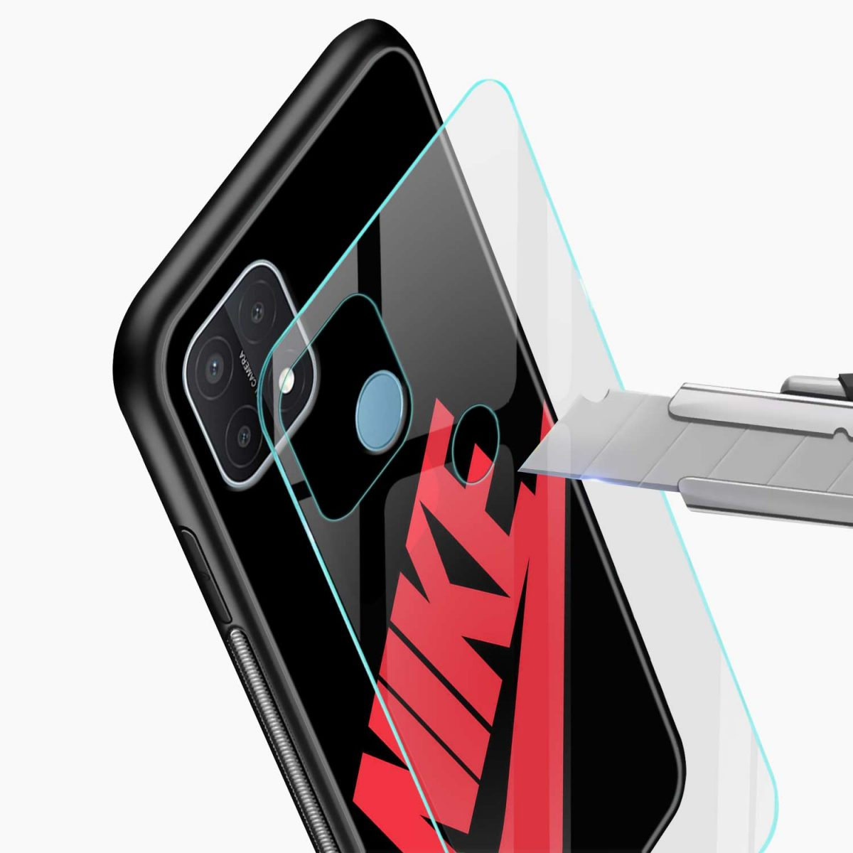 big red nike glass view oppo a15 back cover