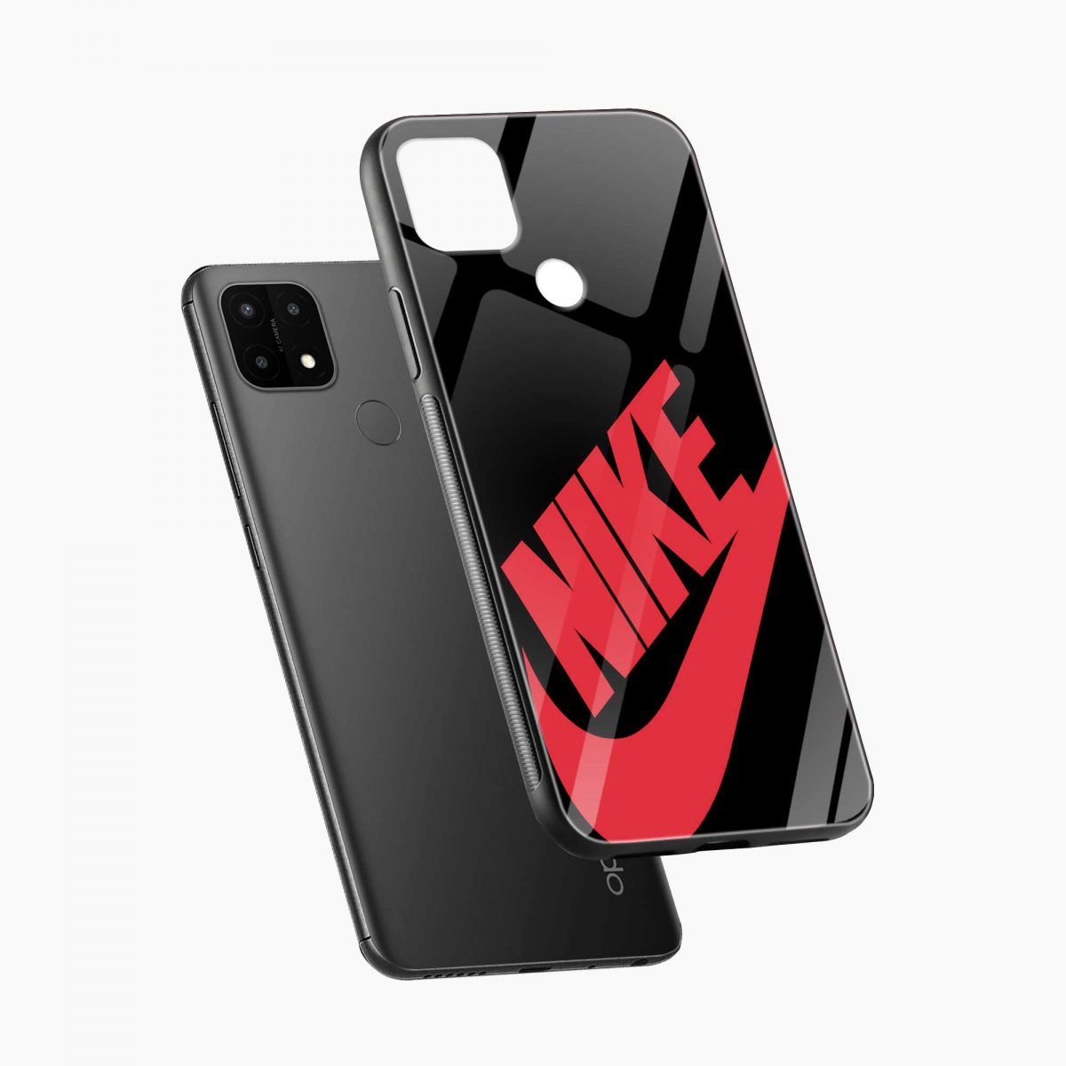 big red nike diagonal view oppo a15 back cover