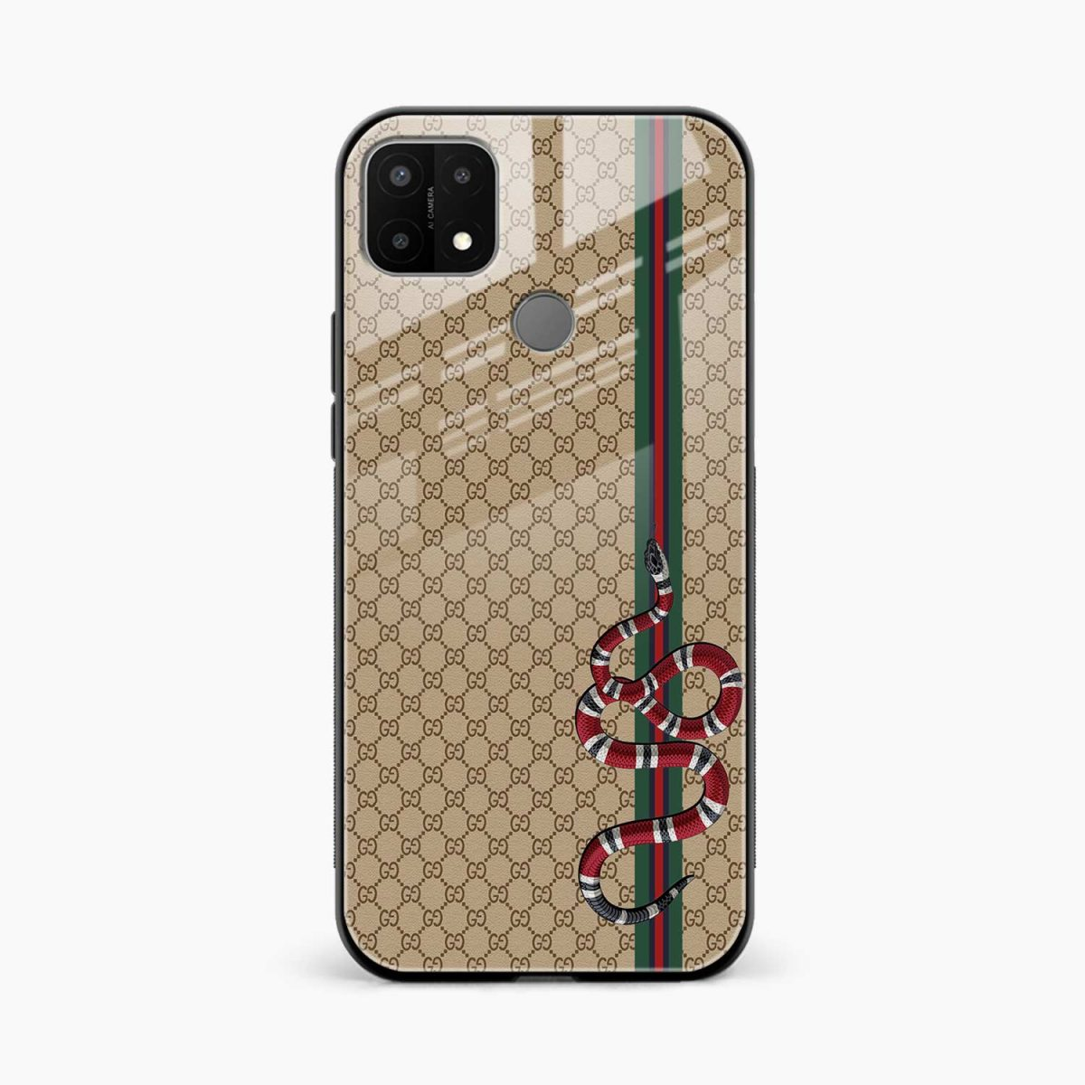 gucci snake pattern front view oppo a15 back cover