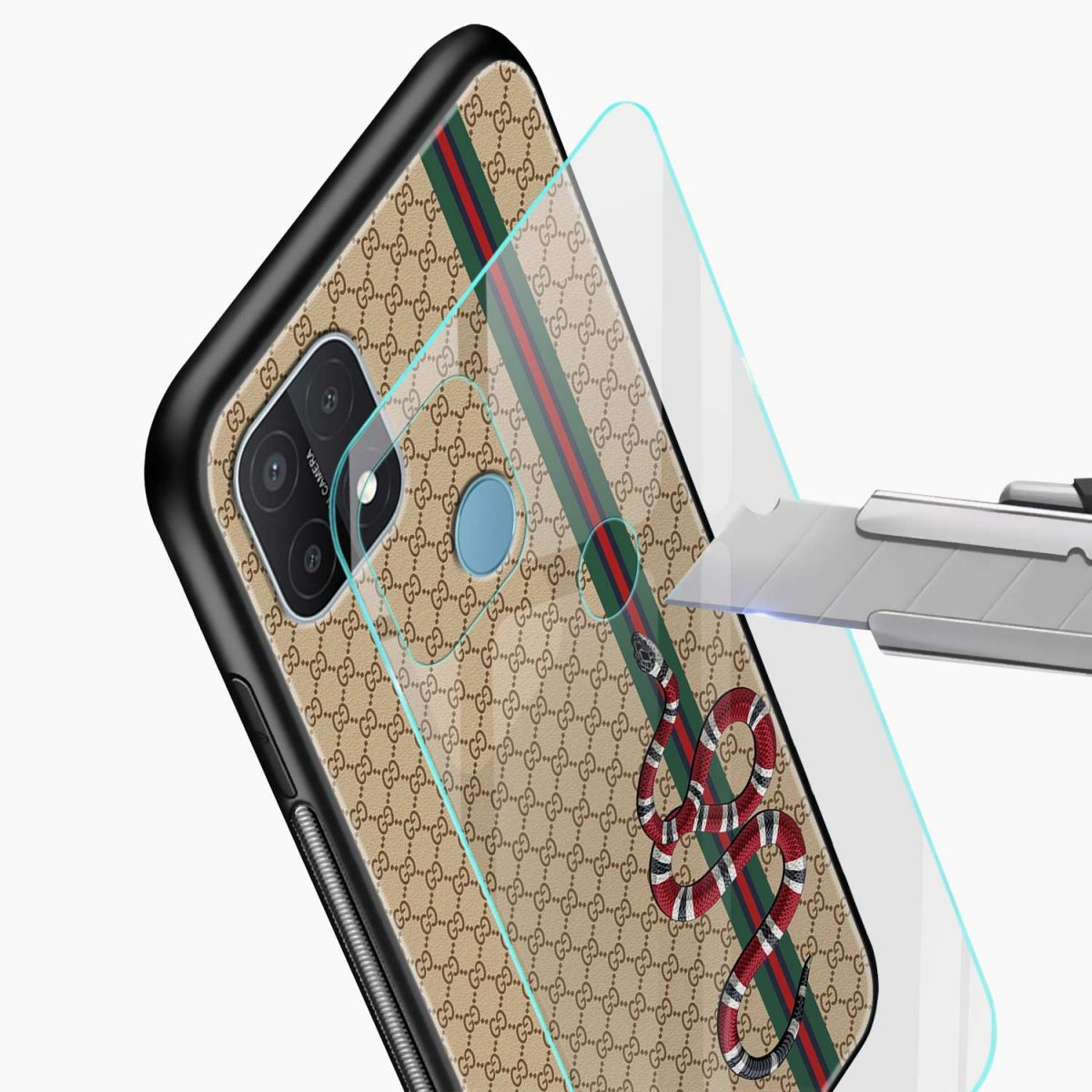 gucci snake pattern glass view oppo a15 back cover