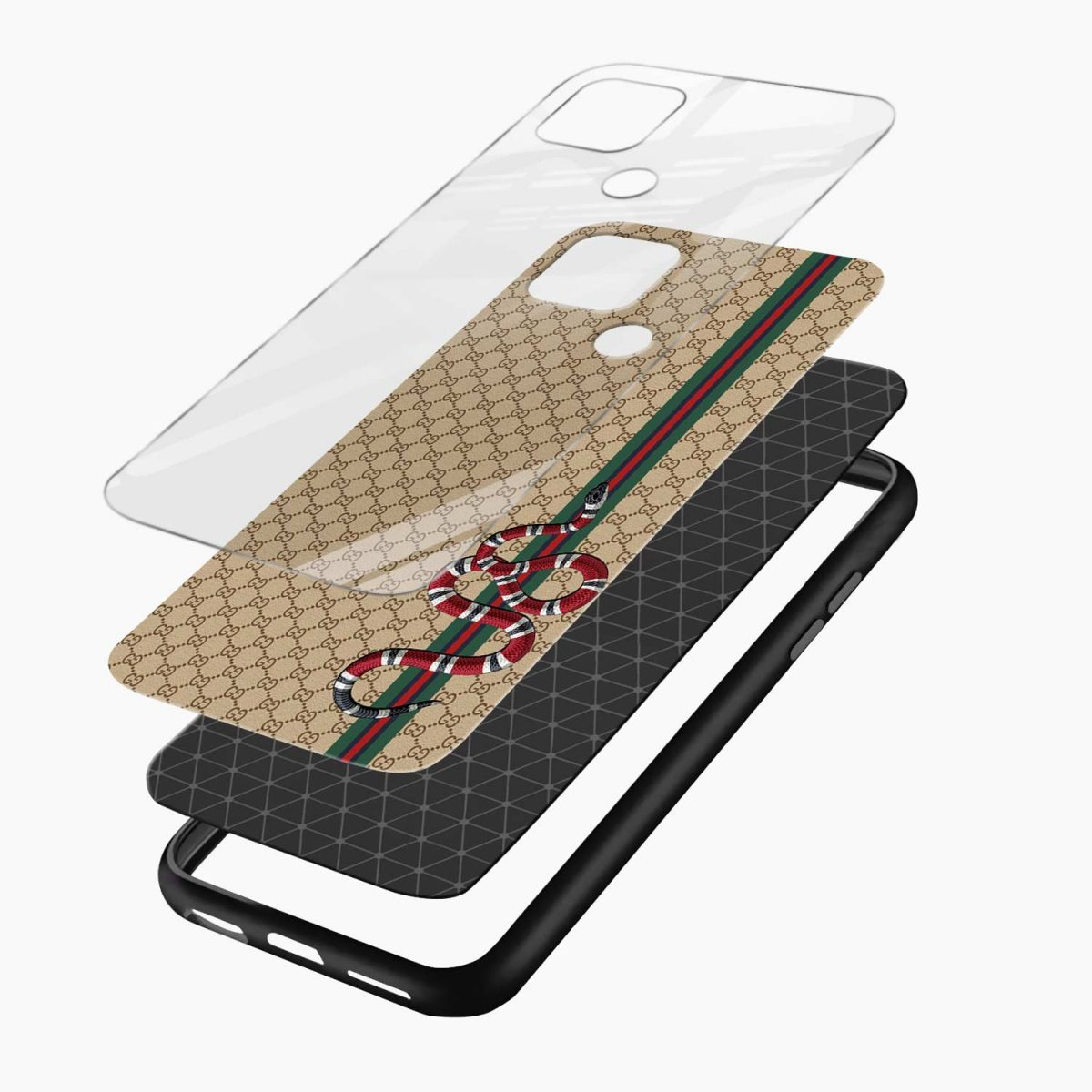 gucci snake pattern layers view oppo a15 back cover