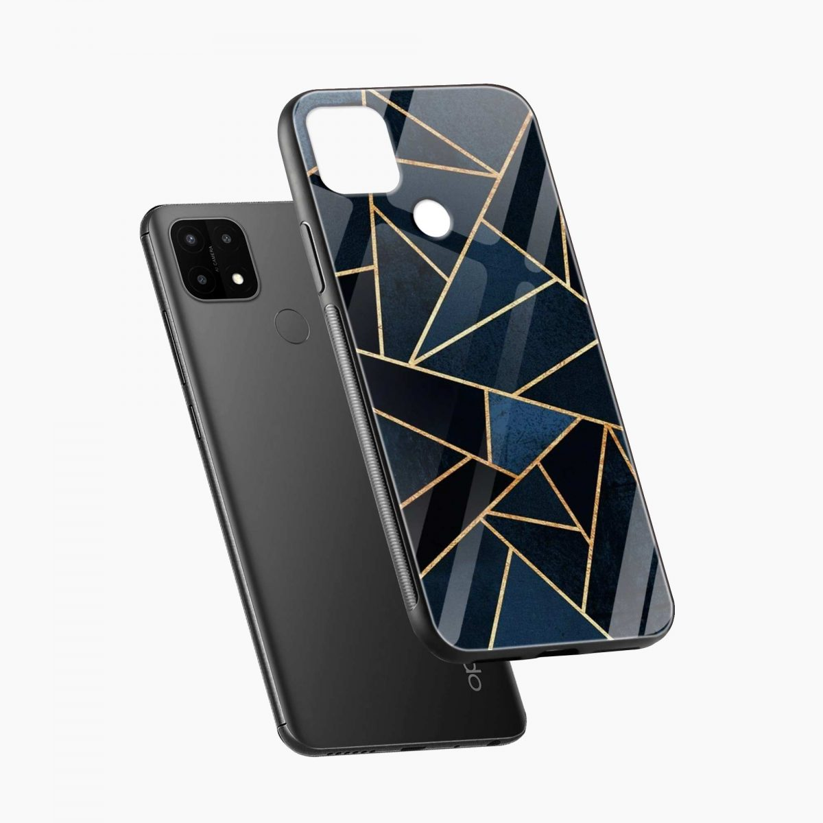 zig zag pattern diagonal view oppo a15 back cover