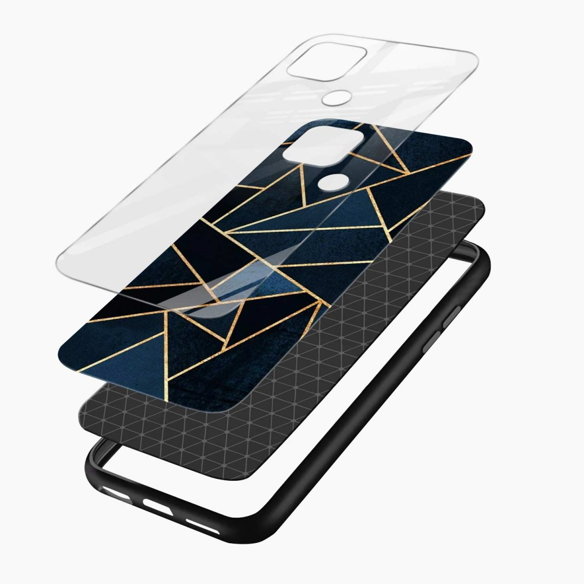 zig zag pattern layers view oppo a15 back cover