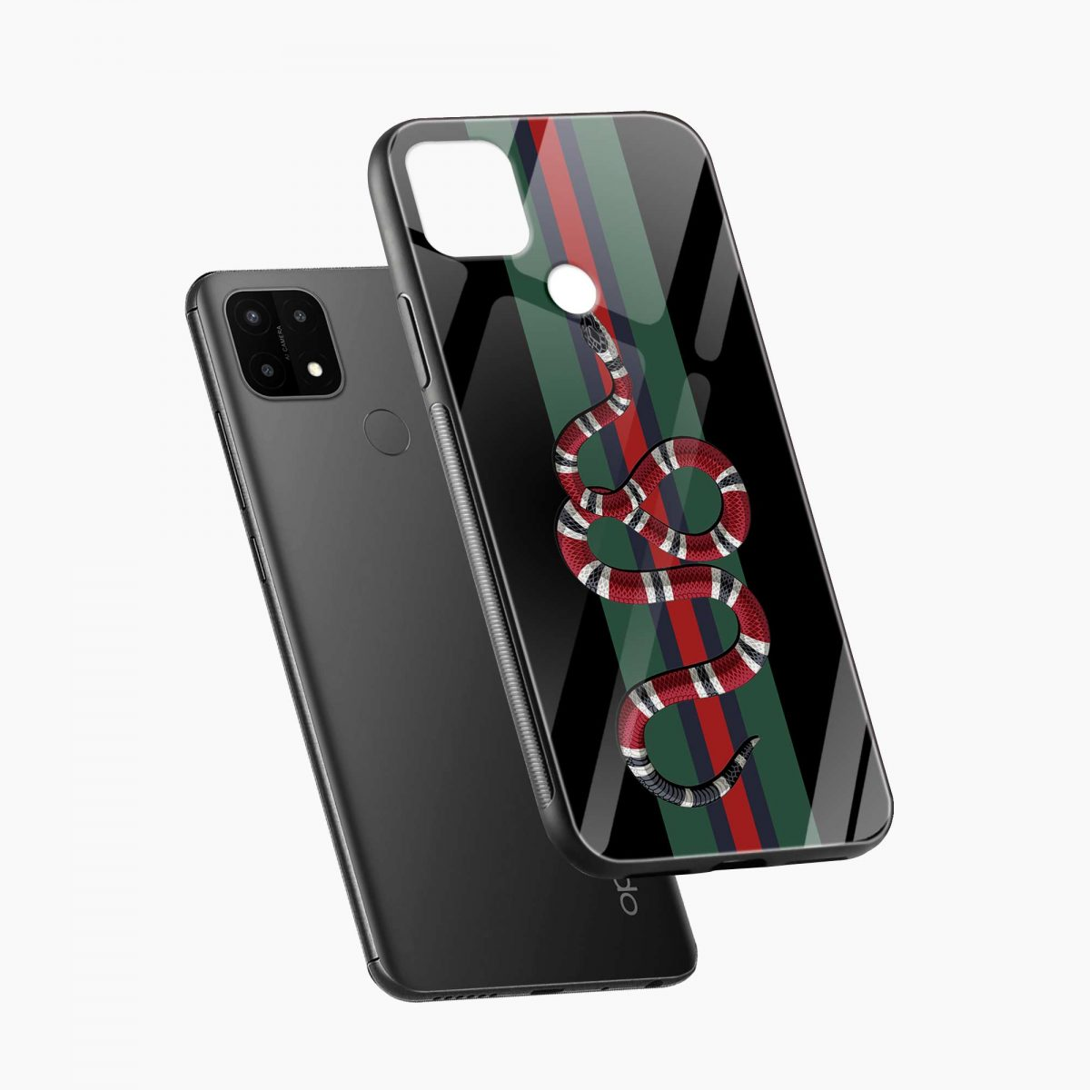 gucci snake with strips diagonal view oppo a15 back cover