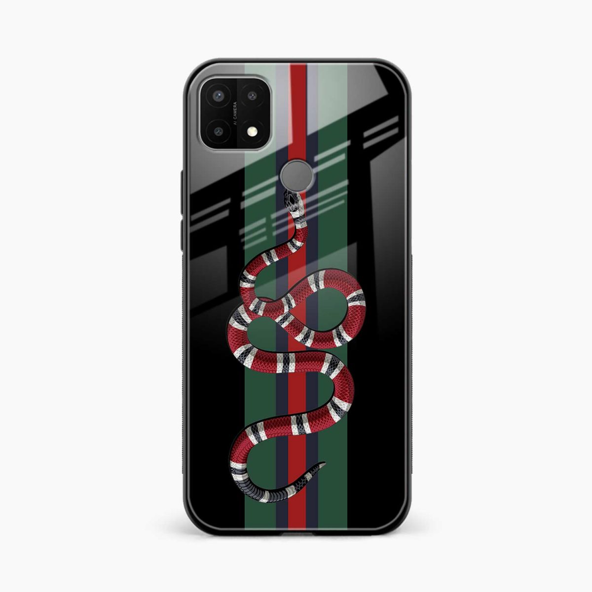 gucci snake with strips front view oppo a15 back cover