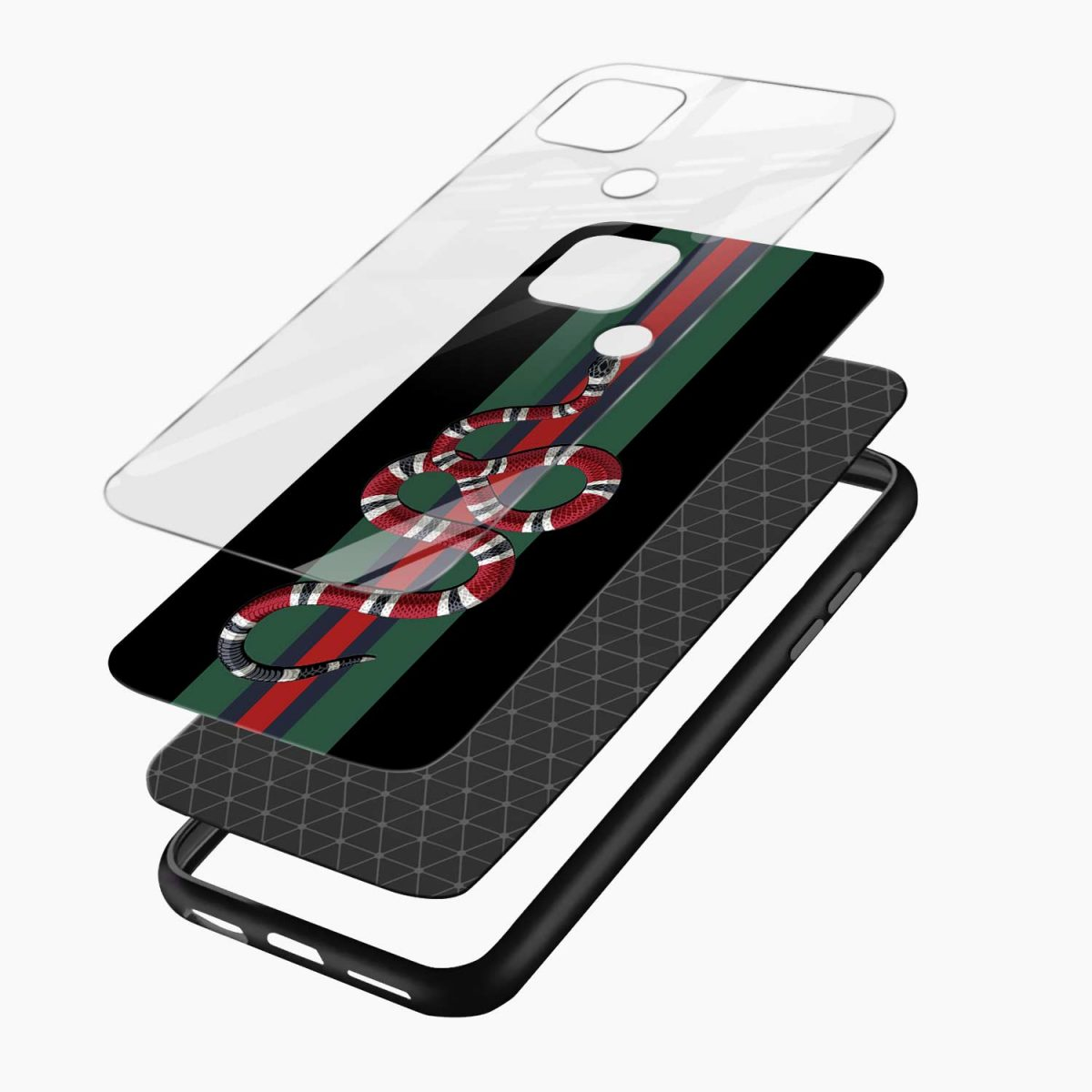 gucci snake with strips layers view oppo a15 back cover