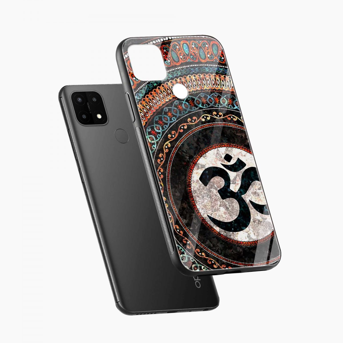 om glass diagonal view oppo a15 back cover