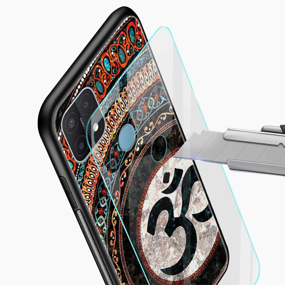om glass glass view oppo a15 back cover
