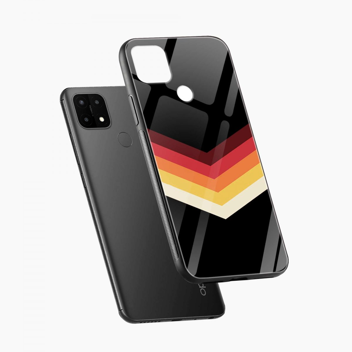 rewind strips pattern diagonal view oppo a15 back cover