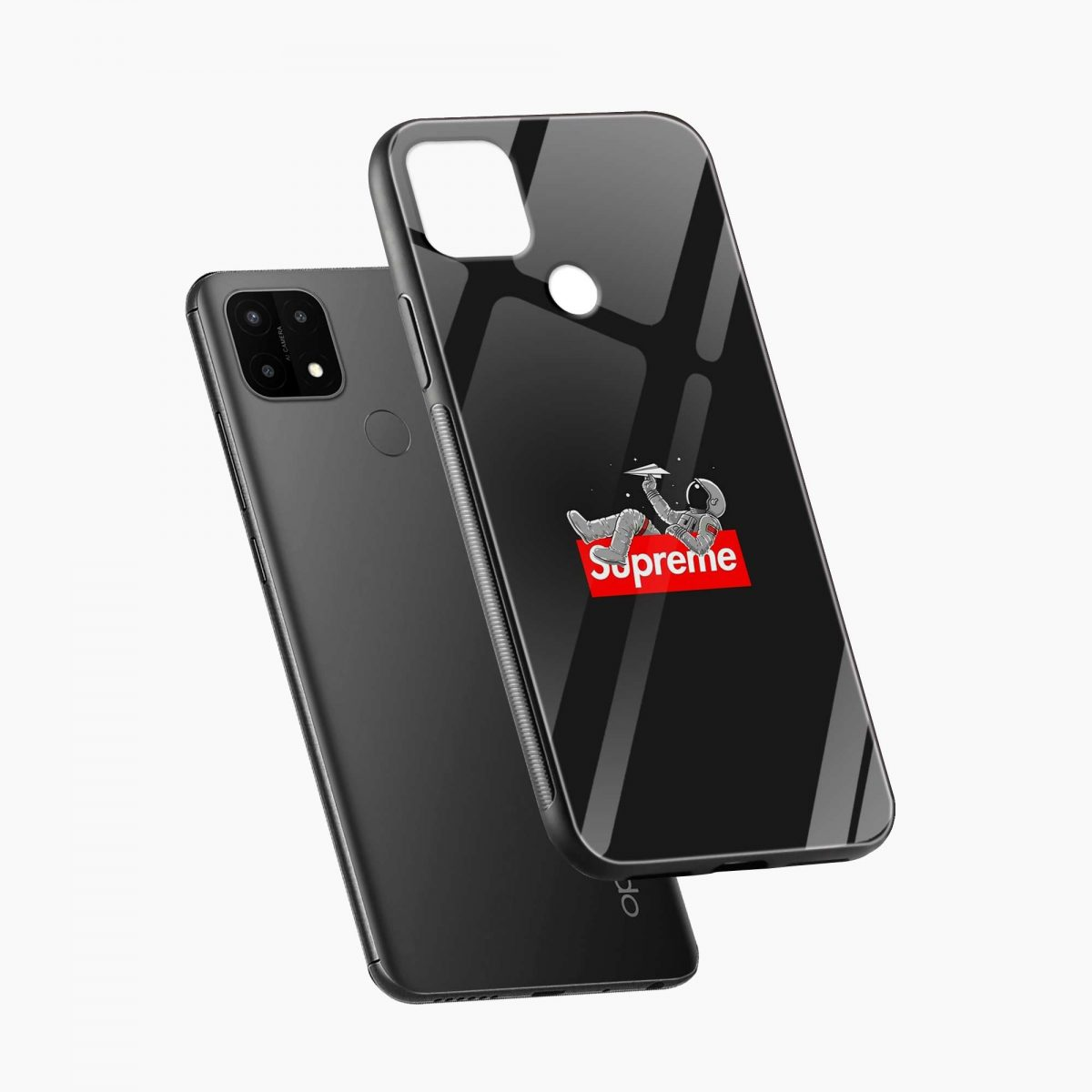 supreme astronaut diagonal view oppo a15 back cover