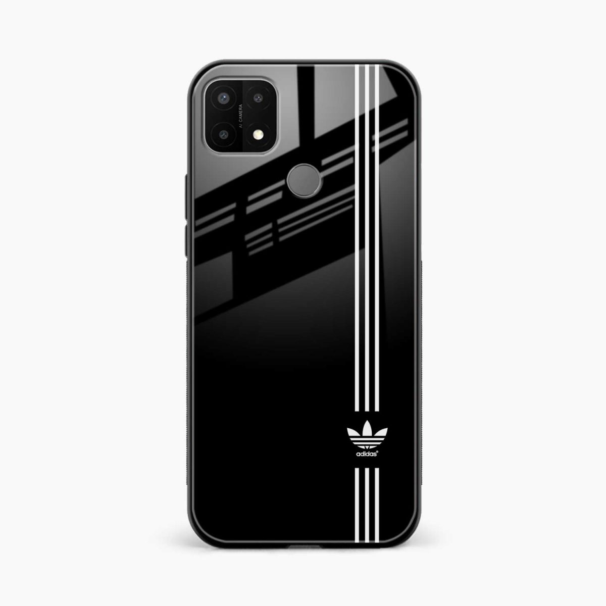 white strips adidasfront view oppo a15 back cover