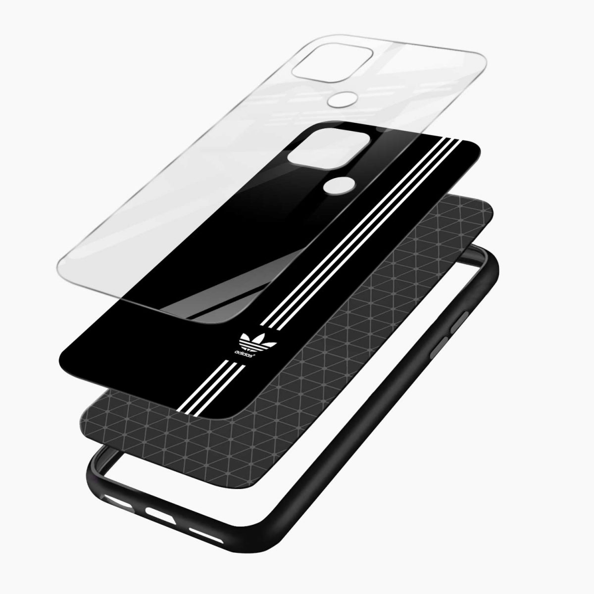 white strips adidaslayers view oppo a15 back cover