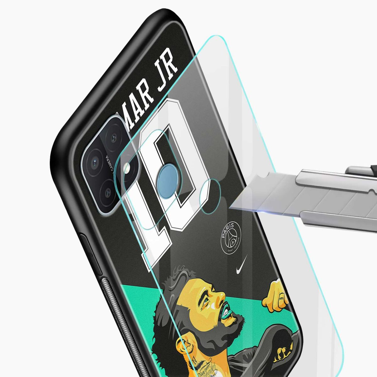 neymar jr 10 glass view oppo a15 back cover