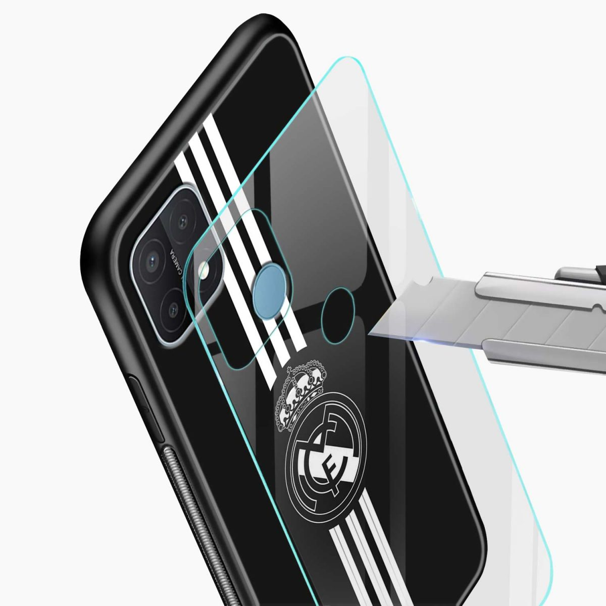 real madrid cf glass view oppo a15 back cover