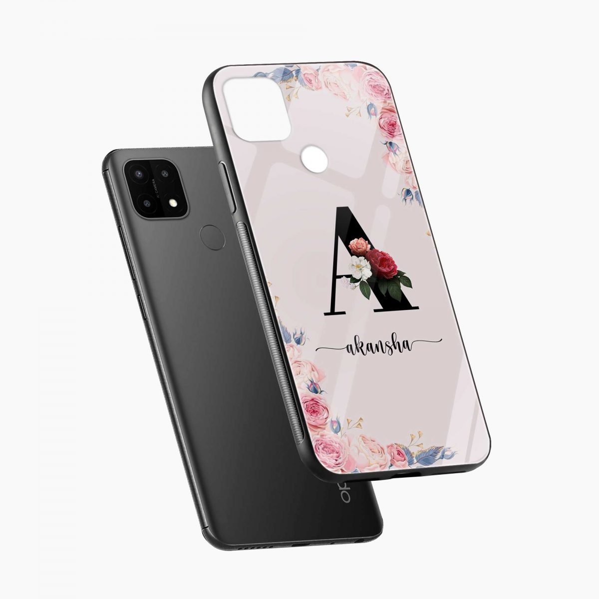 floral name personalised diagonal view oppo a15 back cover
