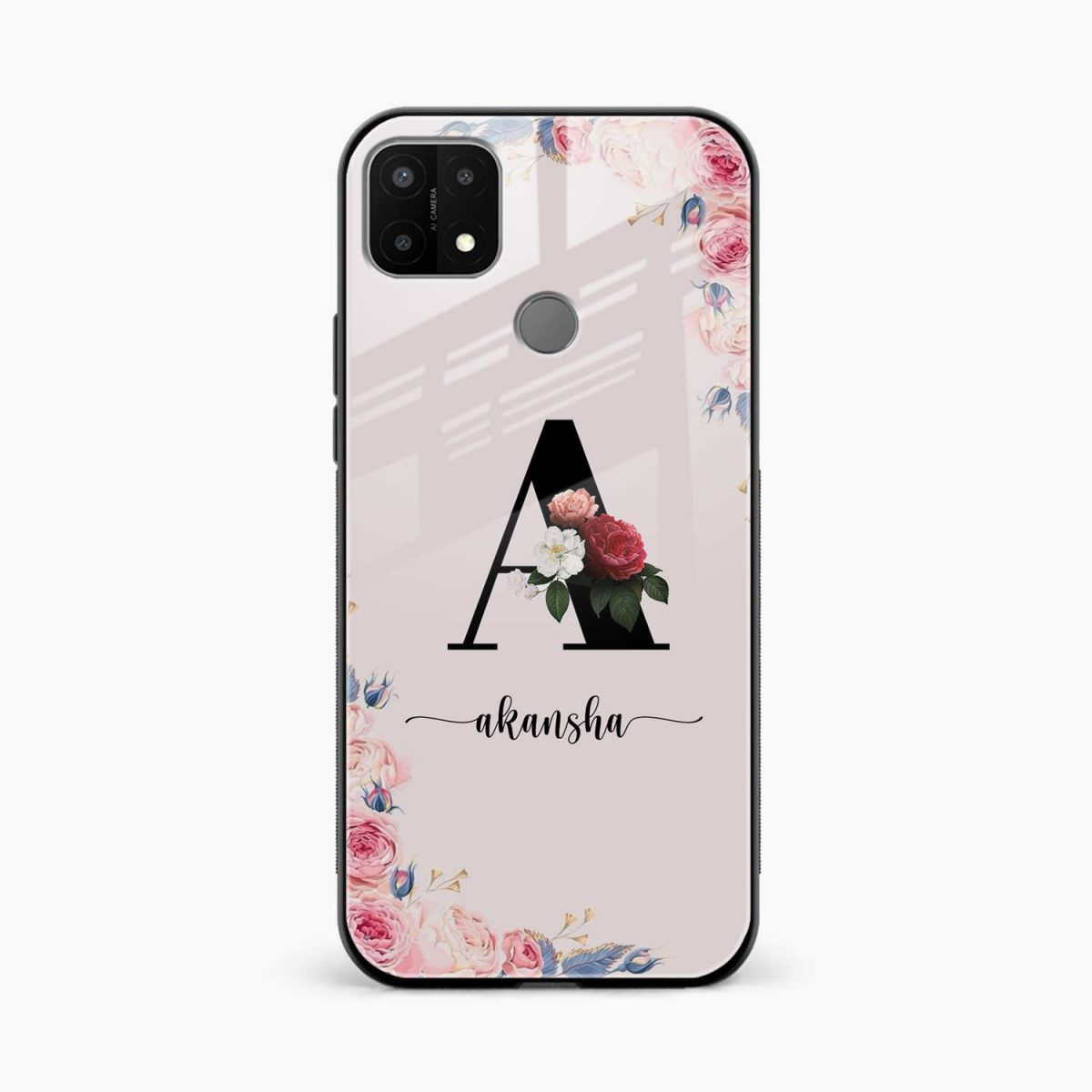 floral name personalised front view oppo a15 back cover