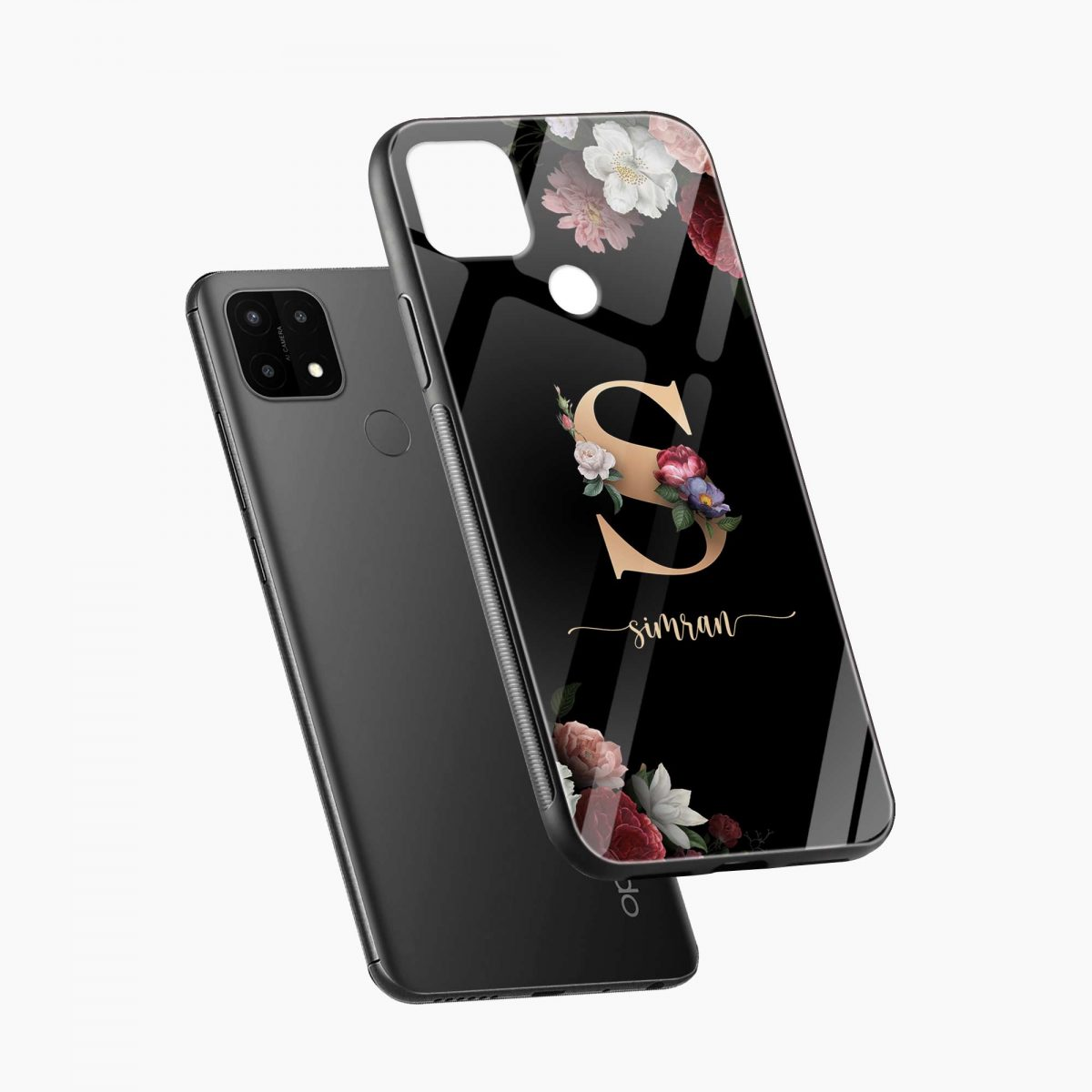 floral black colored name personalised diagonal view oppo a15 back cover