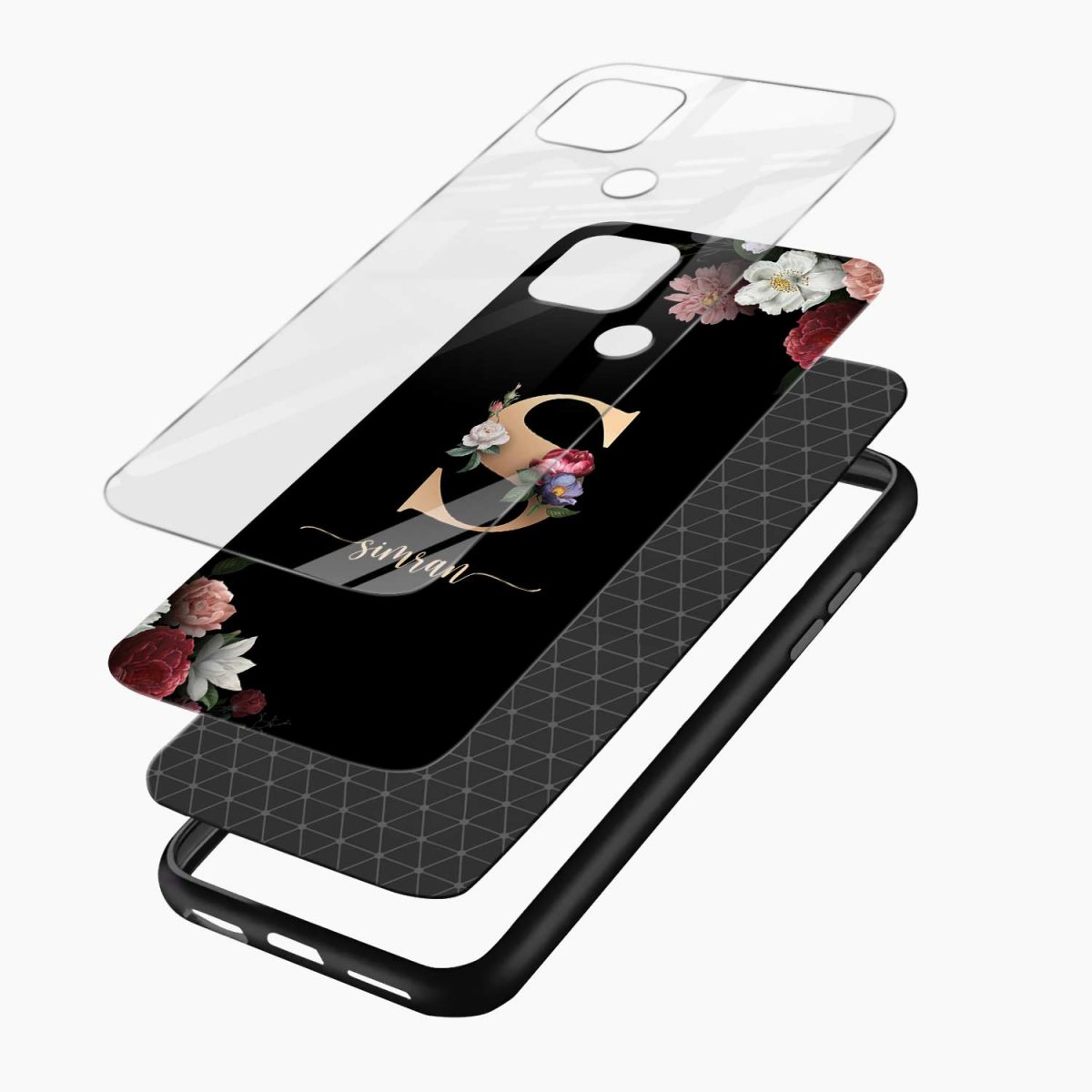 floral black colored name personalised layers view oppo a15 back cover
