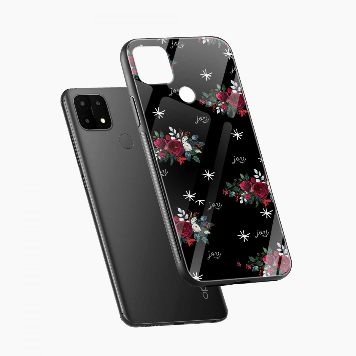 joy floral black colored diagonal view oppo a15 back cover