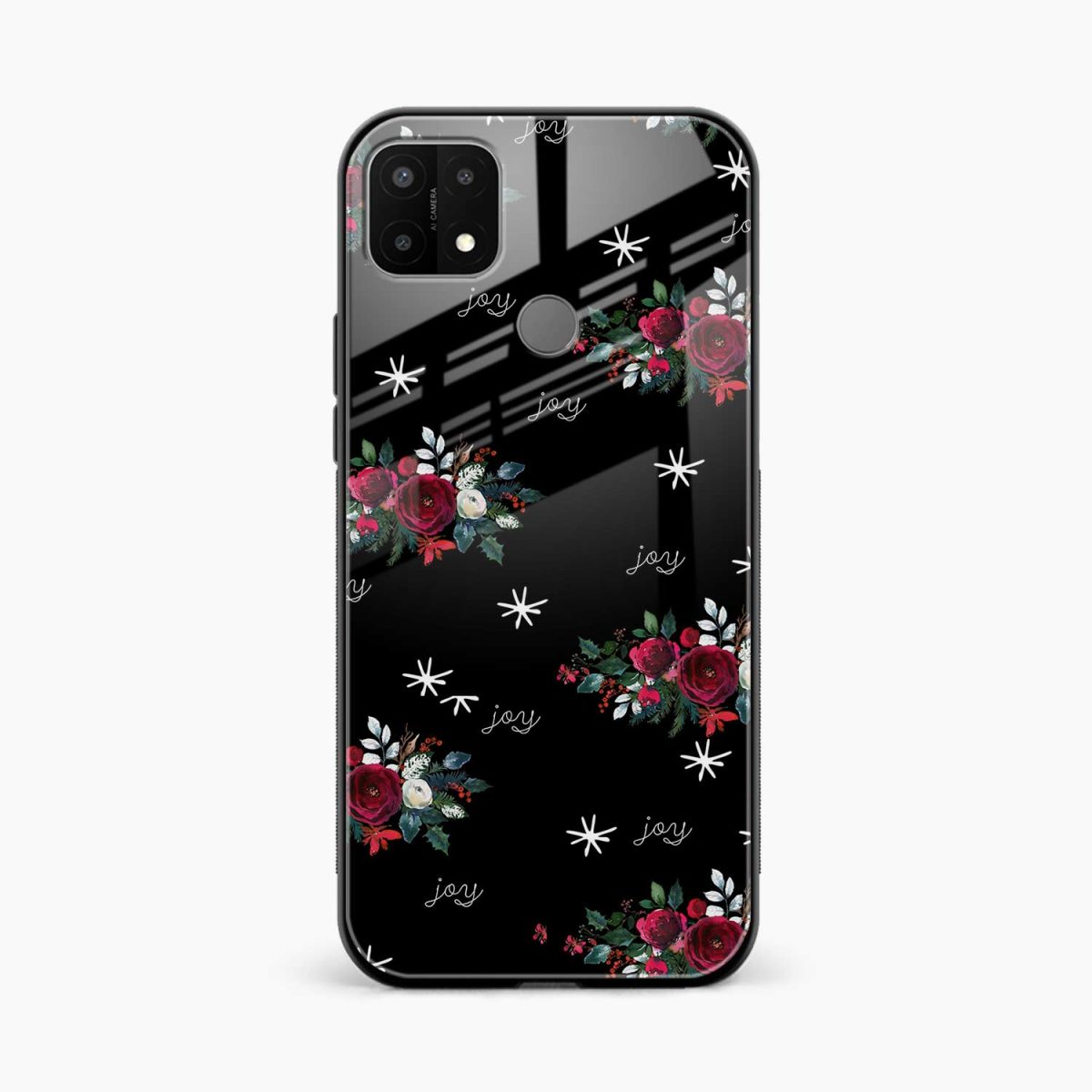 joy floral black colored front view oppo a15 back cover