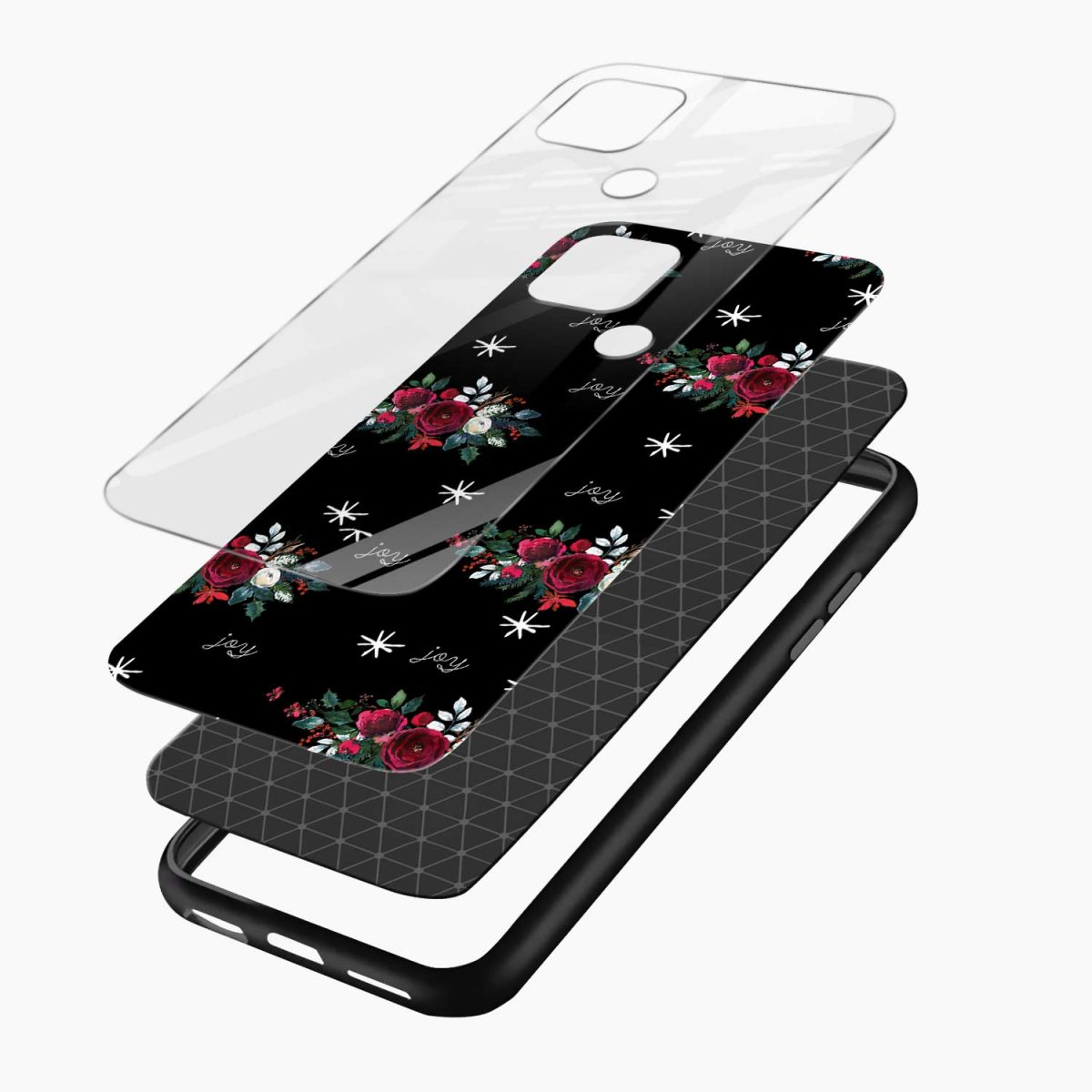 joy floral black colored layers view oppo a15 back cover