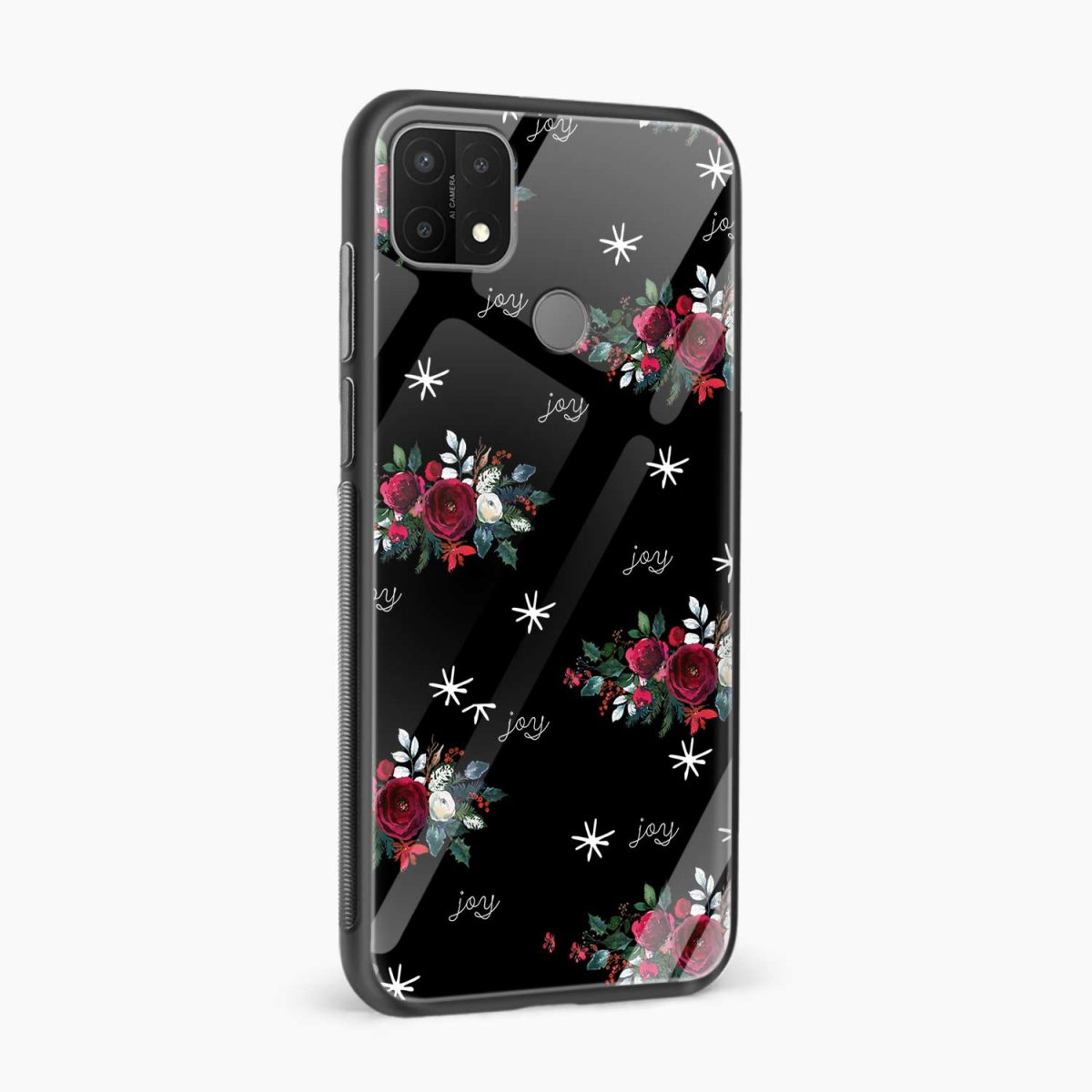 joy floral black colored side view oppo a15 back cover
