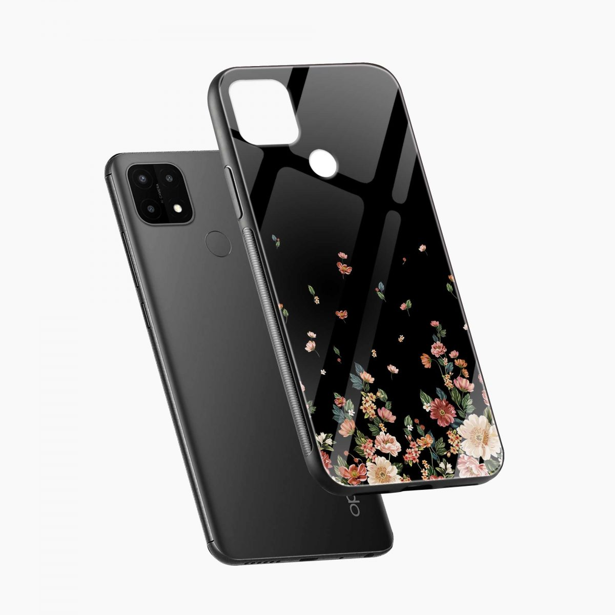 graceful floral black colored diagonal view oppo a15 back cover