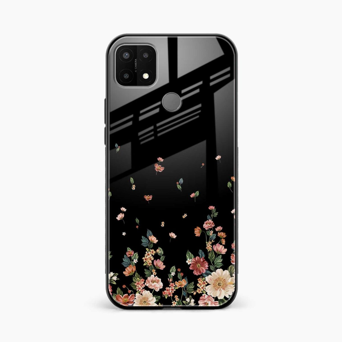 graceful floral black colored front view oppo a15 back cover