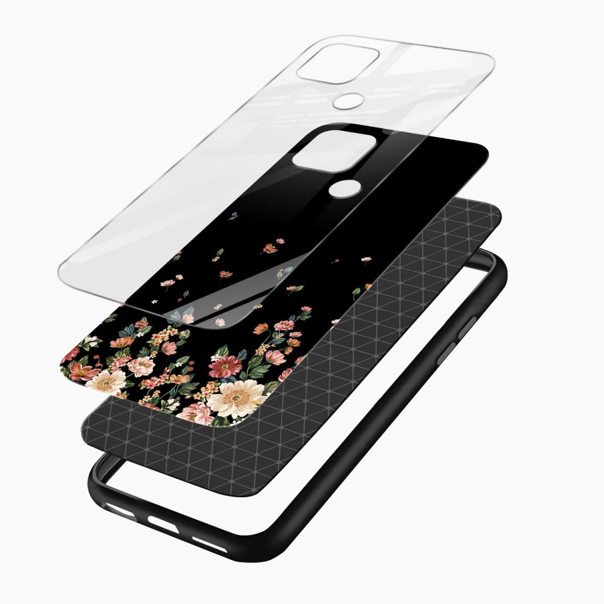 graceful floral black colored layers view oppo a15 back cover