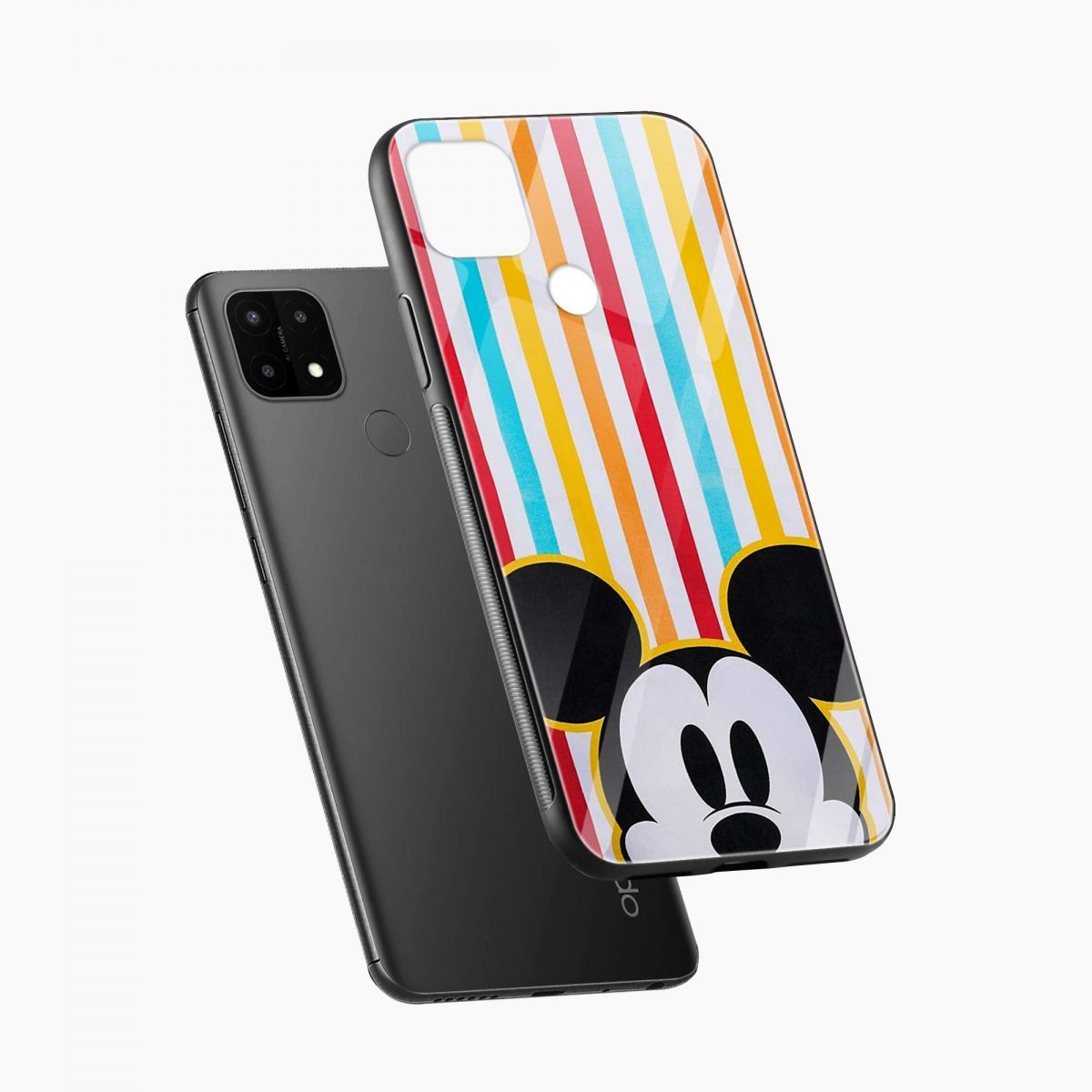 rigid spy mickey mouse diagonal view oppo a15 back cover