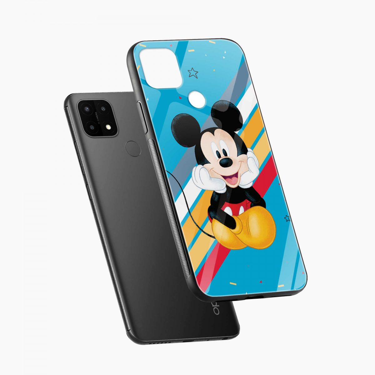 cute mickey mouse disney cartoon diagonal view oppo a15 back cover