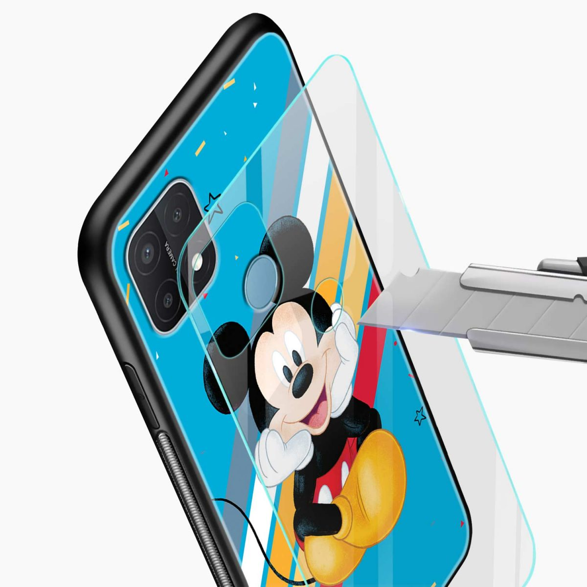 cute mickey mouse disney cartoon glass view oppo a15 back cover