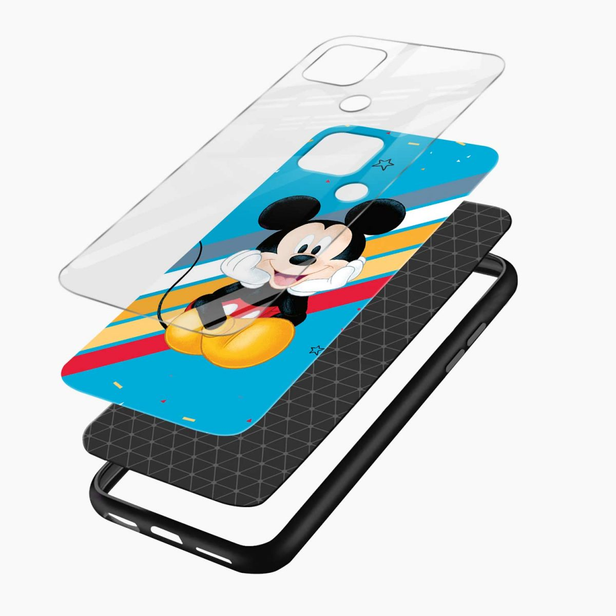 cute mickey mouse disney cartoon layers view oppo a15 back cover