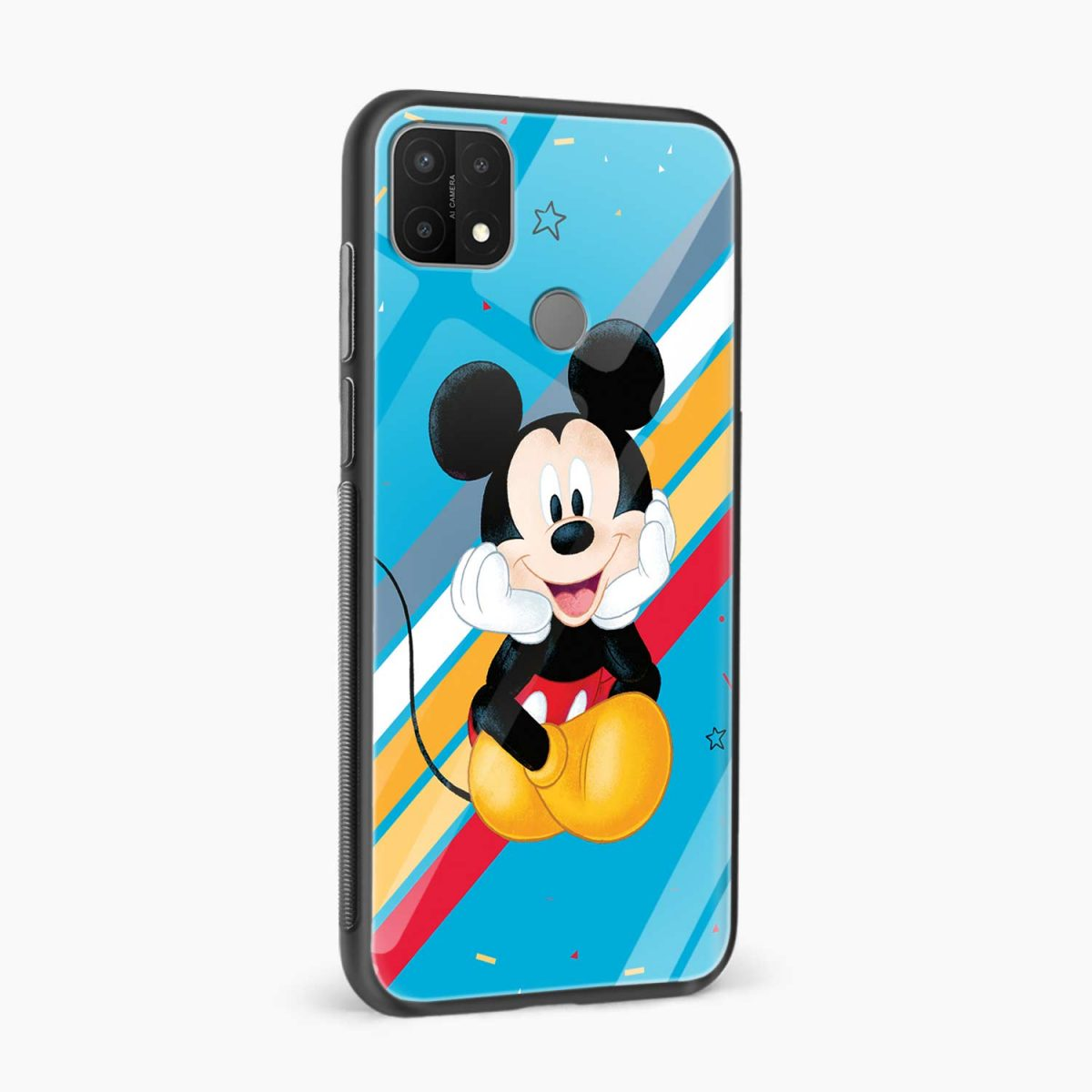 cute mickey mouse disney cartoon side view oppo a15 back cover