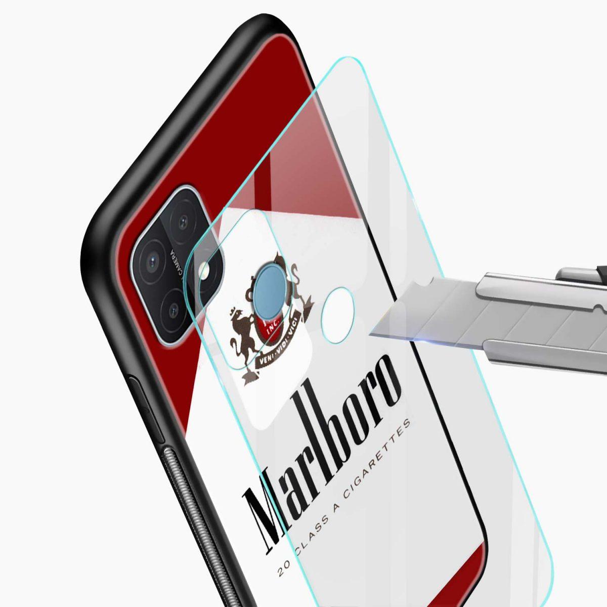 marlboro cigarette box glass view oppo a15 back cover