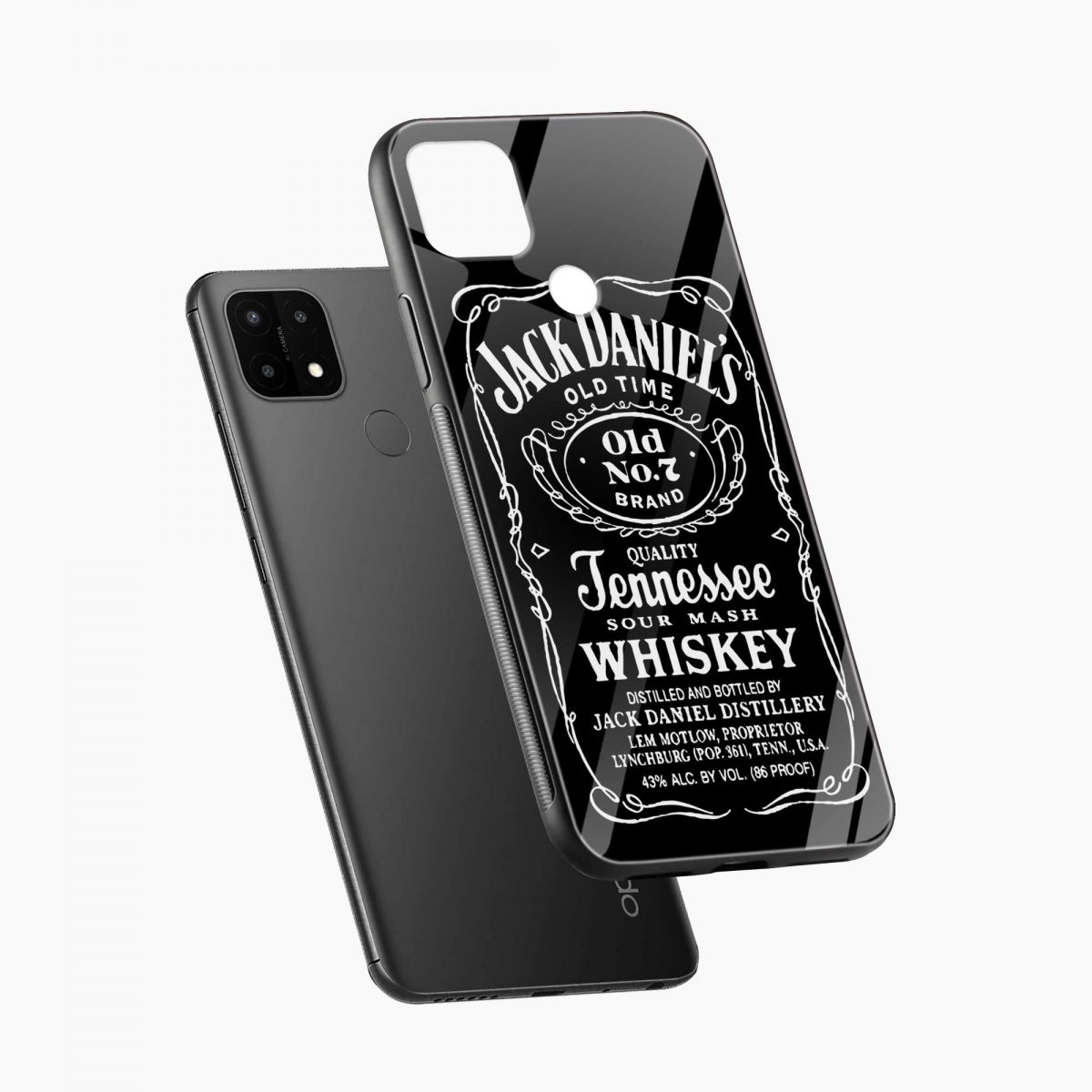 jack daniels whiskey diagonal view oppo a15 back cover