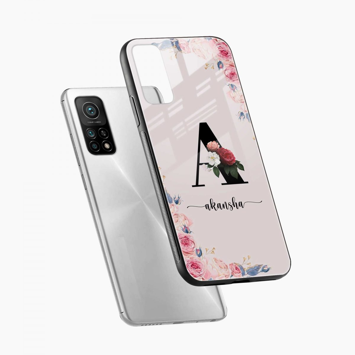floral name personalised xiaomi mi 10t pro back cover diagonal view