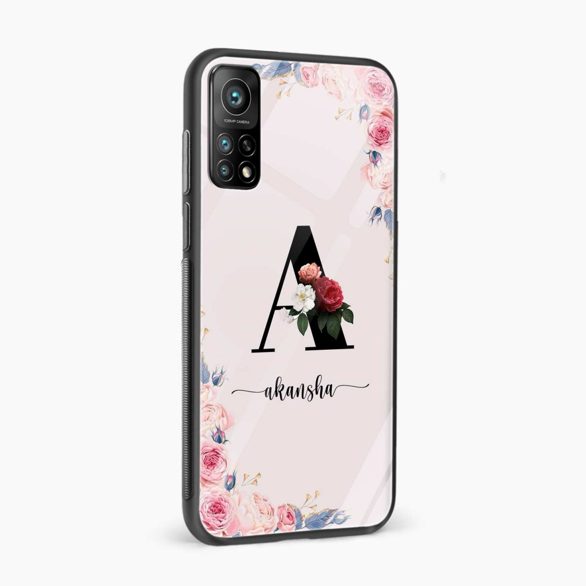 floral name personalised xiaomi mi 10t pro back cover side view