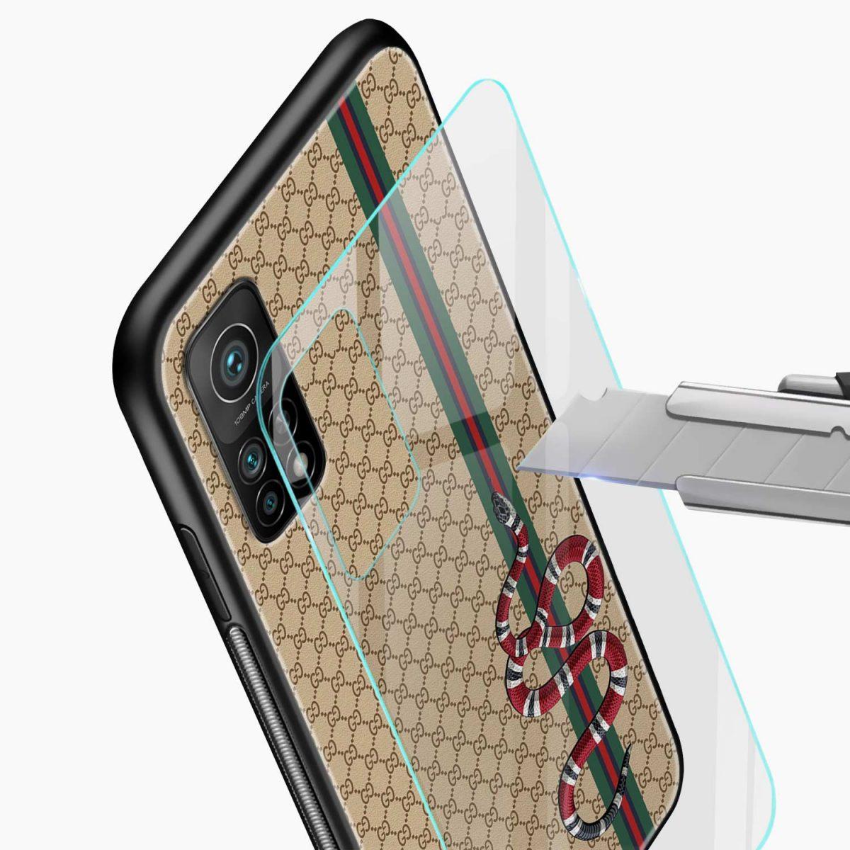 gucci snake pattern xiaomi mi 10t pro back cover glass view