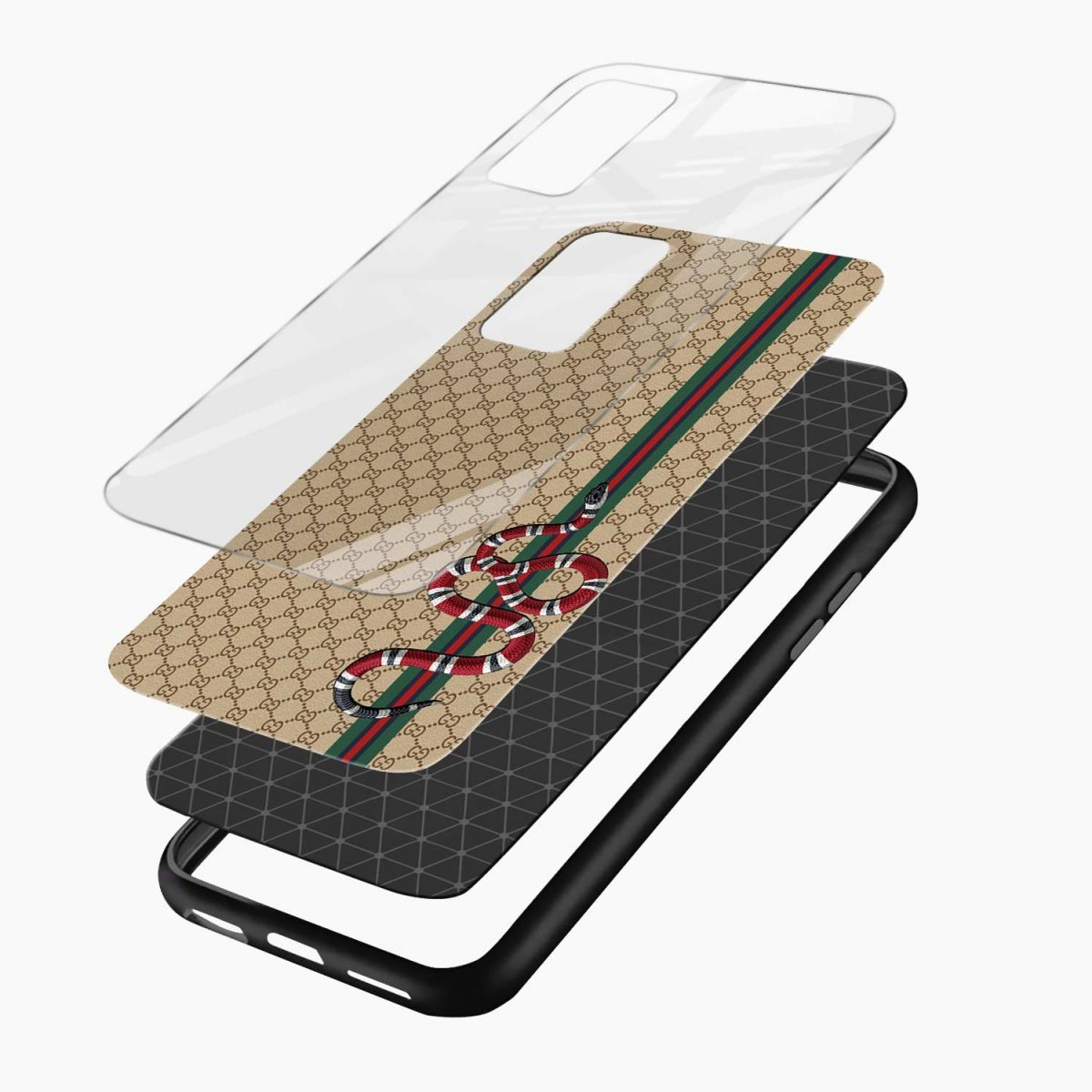 gucci snake pattern xiaomi mi 10t pro back cover layers view